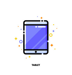 line icon of tablet computer with big display vector image