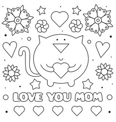love you mom coloring page black and white vector image