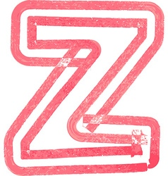 Lowercase letter z drawing with Red Marker vector