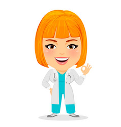 Medical doctor woman showing ok sign funny vector