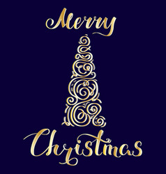Merry christmas and tree golden vector