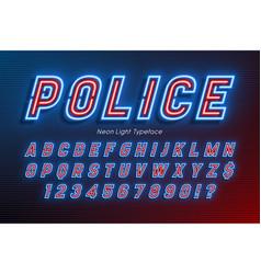 Neon light alphabet extra glowing font type vector