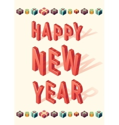 New Year greeting card christmas gift 3d Isometric vector