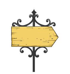 Old urban road signpost pointer line art sketch vector