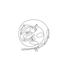 one continuous line drawing logo symbol icon vector image