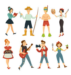People hobby or profession characters vector