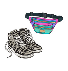 personal items from 90s - zebra patterned sneakers vector image