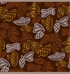Pinecones color seamless pattern vector