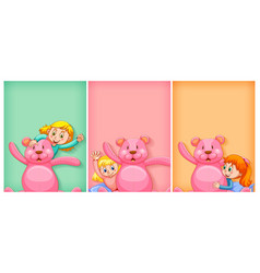 plain background with happy girl and pink teddy vector image