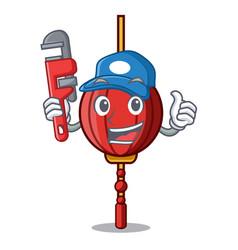 Plumber chinese lantern mascot cartoon vector