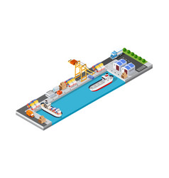 port cargo ship transport logistics vector image