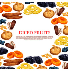 Poster dried fruits and dry fruit snacks vector