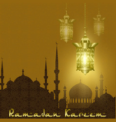 ramadan kareem stylized drawing of the silhouette vector image