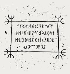 Runic alphabet magyar runes in handwritten style vector