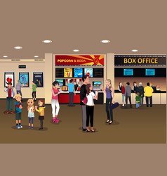 Scene in the movie theater lobby vector