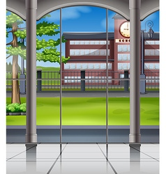 School campus from window vector
