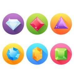 Set flat icons with precious jewels vector