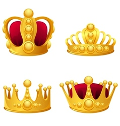 set gold crowns isolated vector image