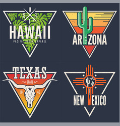 Set hawaii arizona texas new mexico tee prints vector