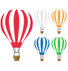 Set hot air balloon icon vector