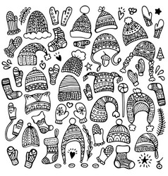 set of cute hand-drawn hats vector image