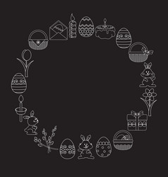 set of easter white linear icons on black vector image