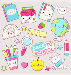 Set of education icons in kawaii style vector