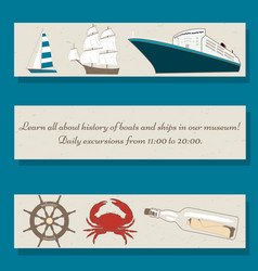 set of flyer templates with ships crab wheel vector image