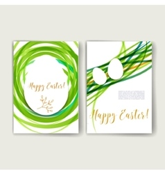 Set of Trendy Easter Posters with hand drawn vector image