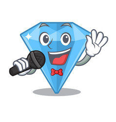 Singing sapphire gem in a mascot box vector