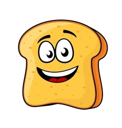 Slice of bread or toast with a beaming smile vector image