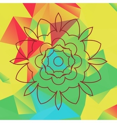 Stylized flower over bright triangles background vector image