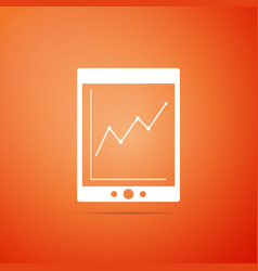 tablet with statistic graph chart icon isolated vector image