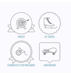 Target ice skates and skateboard icons vector image