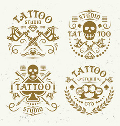 tattoo studio four vintage colored emblems vector image