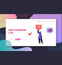 thank you website landing page young woman social vector image