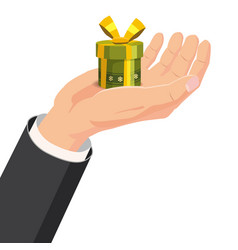 the hand that holds the box gift cartoon style vector image