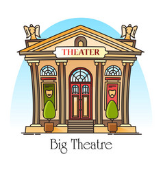 Theater building in thin line with mask angels vector
