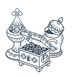 Traditional magi offerings icon white background vector