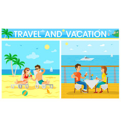 travel and vacation people eating in restaurant vector image