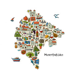 travel map montenegro for your design vector image