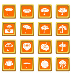 umbrella icons set orange square vector image