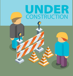 under construction concept in flat isometric vector image