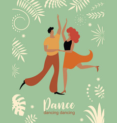 vertical banner with dancing couple vector image