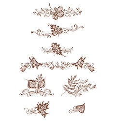 Vintage page decorations with leaves vector image