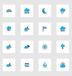 weather icons colored set with snow flag night vector image