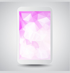 White modern gadget with pink polygonal background vector