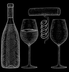 Wine bottle with glasses and corkscrew hand drawn vector