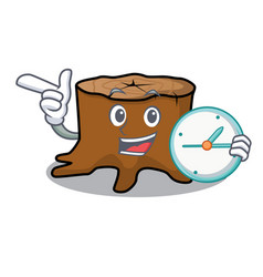 with clock tree stump character cartoon vector image