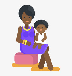 Afro-american woman holds child on knees vector